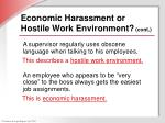 economic harassment or hostile work environment cont