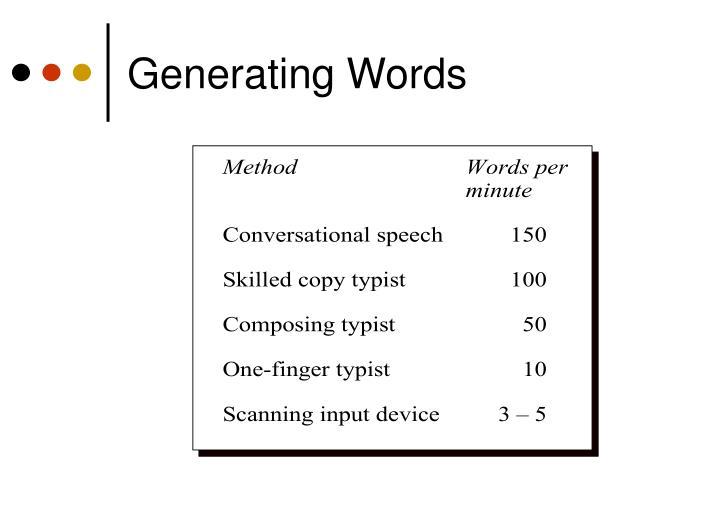 Generating Words