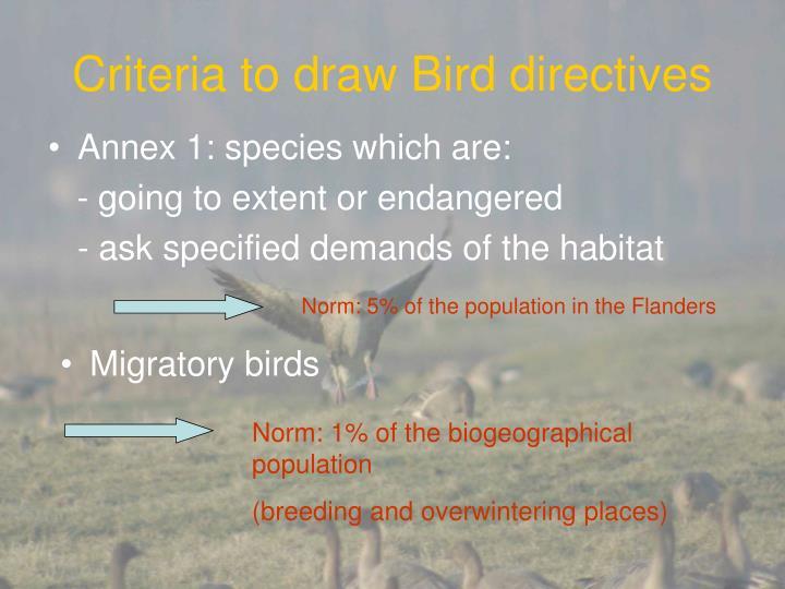 Criteria to draw bird directives