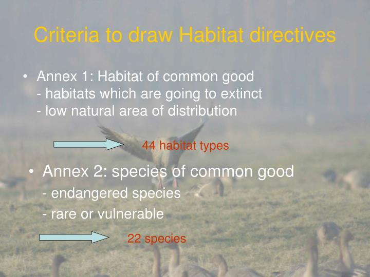 Criteria to draw habitat directives