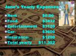 jane s yearly expenses