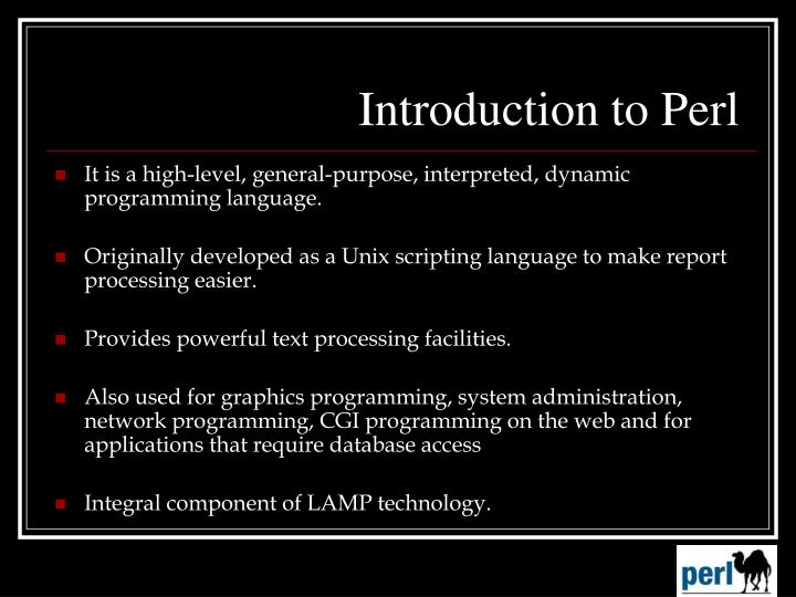 Introduction to perl