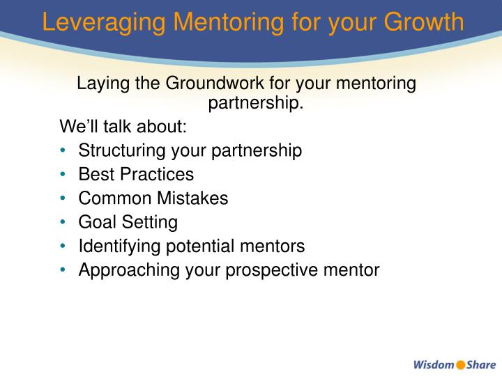 Leveraging Mentoring for your Growth