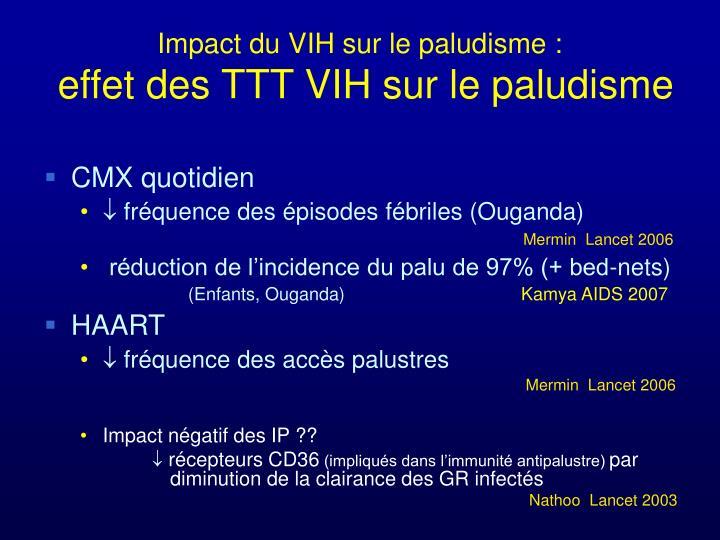 Impact du VIH sur le paludisme :