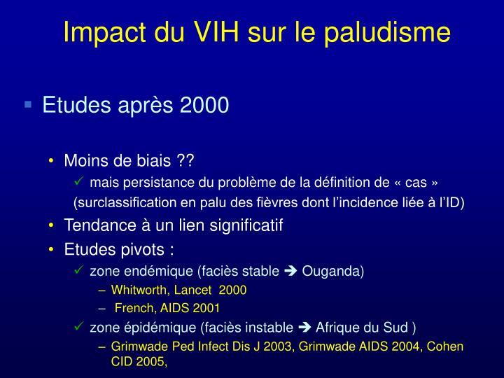 Impact du VIH sur le paludisme