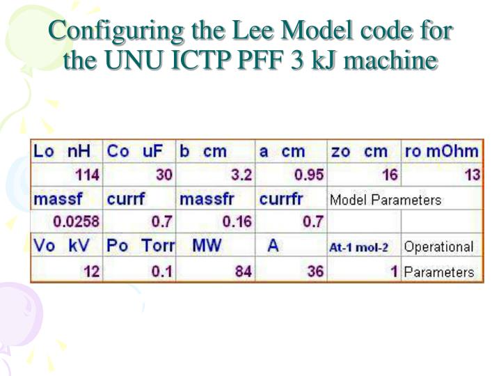 Configuring the Lee Model code for the UNU ICTP PFF 3 kJ machine