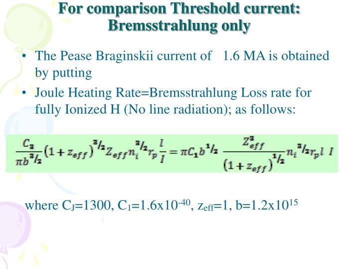For comparison Threshold current: Bremsstrahlung only