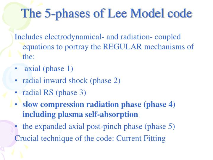 The 5-phases of Lee Model code