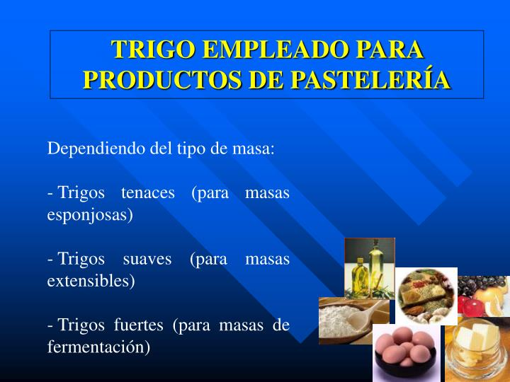 Trigo empleado para productos de pasteler a