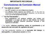 conclusiones de comisi n marcel