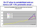 en 27 a os la rentabilidad est en torno a uf 9 promedio anual