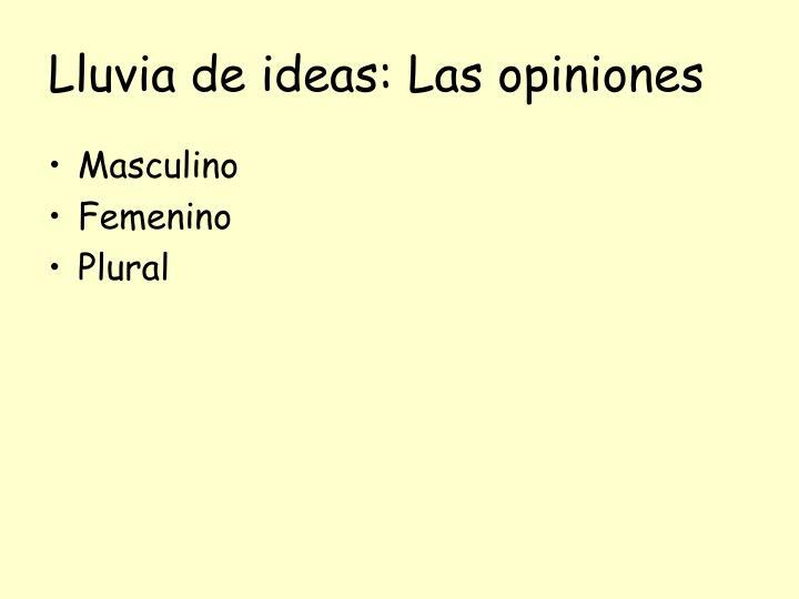 Lluvia de ideas: Las opiniones