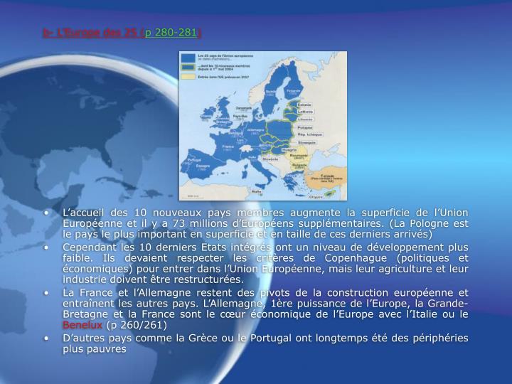B l europe des 25 p 280 281
