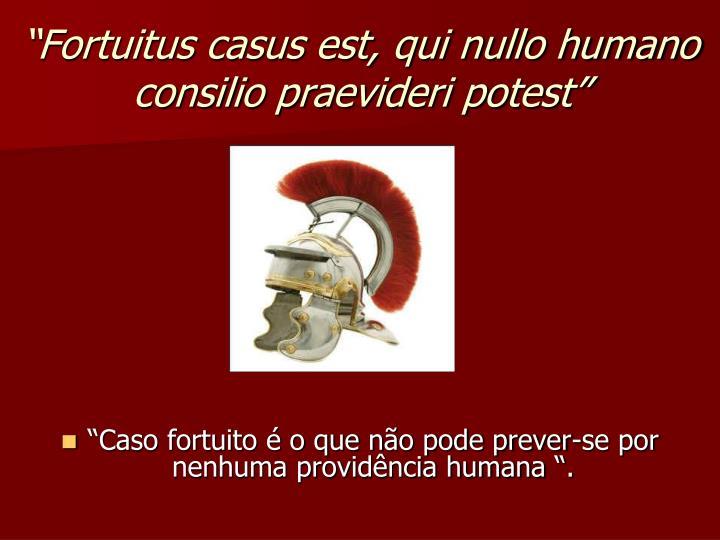 """""""Fortuitus casus est, qui nullo humano consilio praevideri potest"""""""