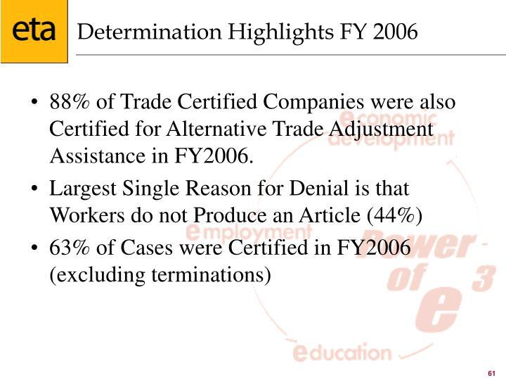 Determination Highlights FY 2006