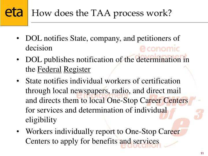How does the TAA process work?