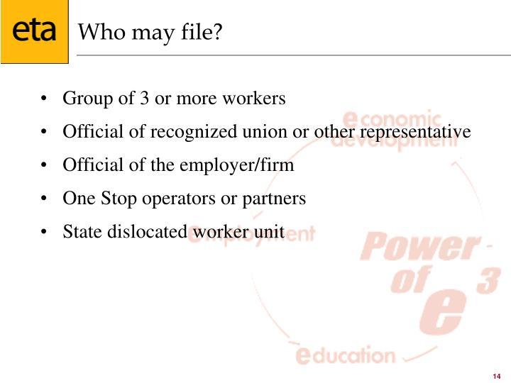 Who may file?