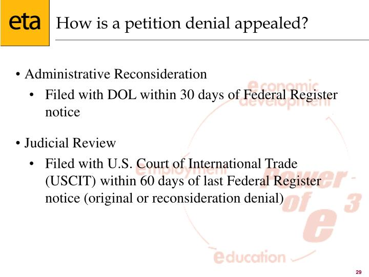 How is a petition denial appealed?