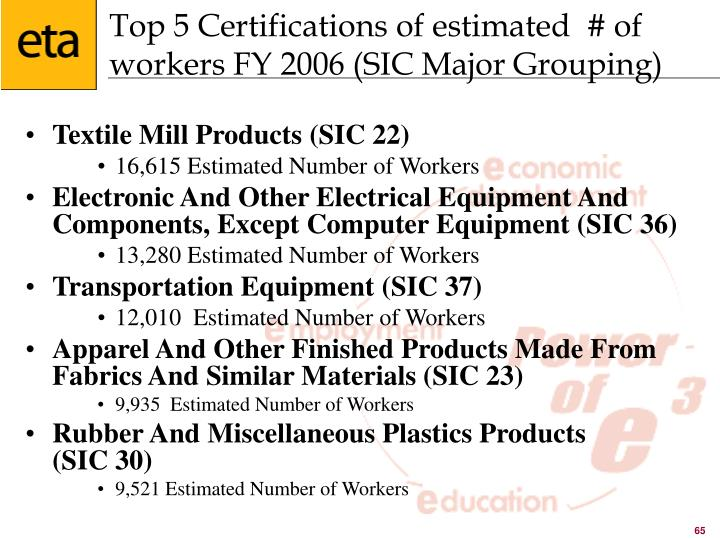 Top 5 Certifications of estimated  # of workers FY 2006 (SIC Major Grouping)