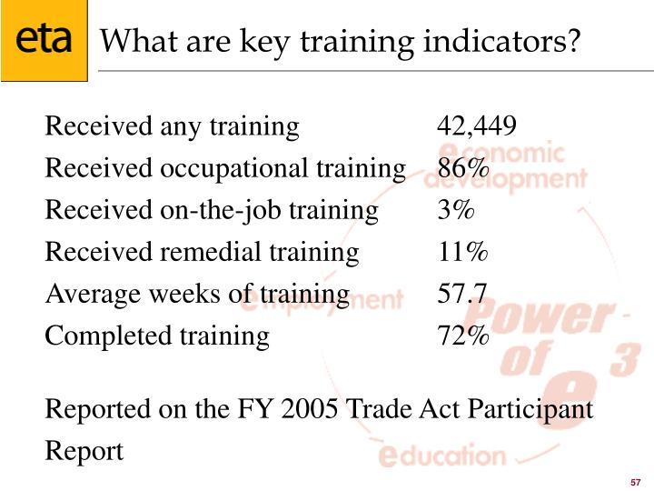 What are key training indicators?