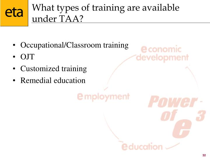 What types of training are available under TAA?