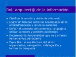 rol arquitect@ de la informaci n