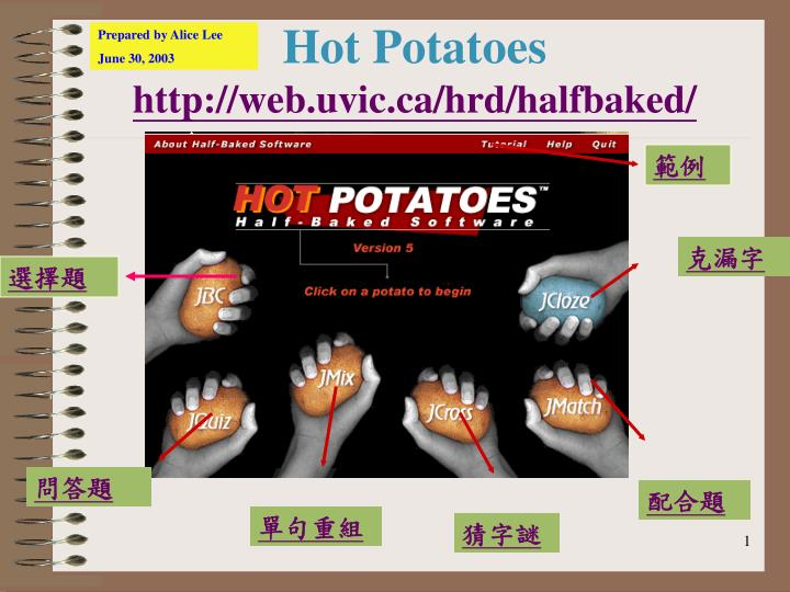 hot potatoes http web uvic ca hrd halfbaked n.