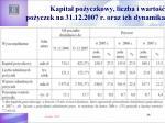 kapita po yczkowy liczba i warto po yczek na 31 12 2007 r oraz ich dynamika