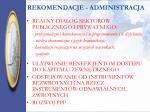 rekomendacje administracja
