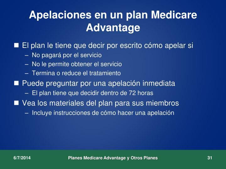 Apelaciones en un plan Medicare Advantage