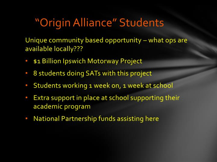 """Origin Alliance"" Students"