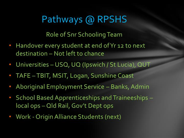 Pathways @ RPSHS