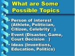 what are some possible topics