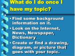what do i do once i have my topic