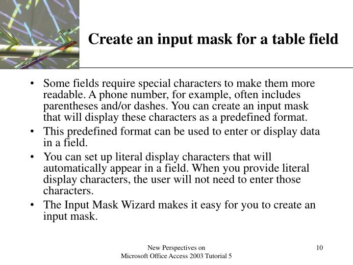Create an input mask for a table field