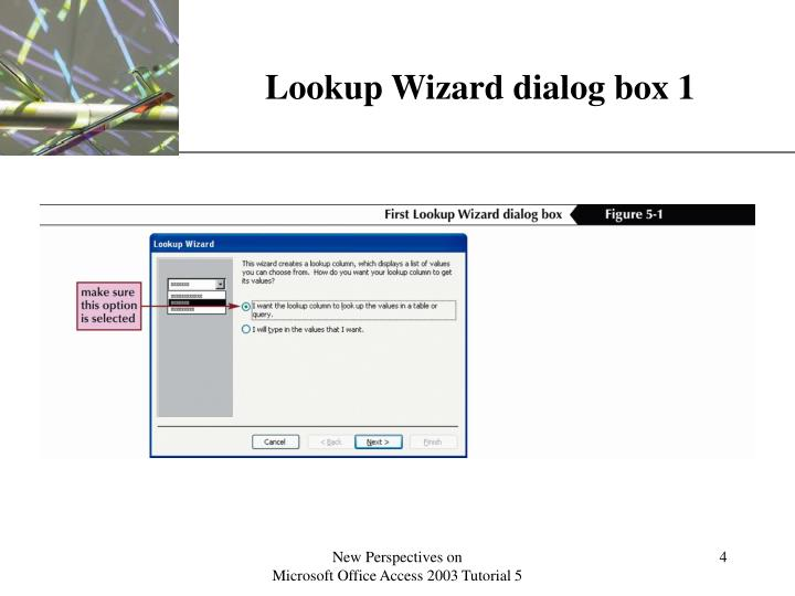 Lookup Wizard dialog box 1