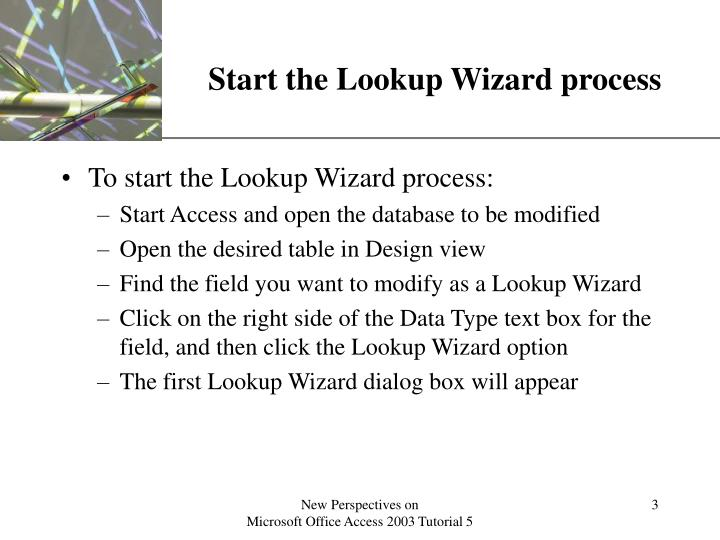 Start the lookup wizard process