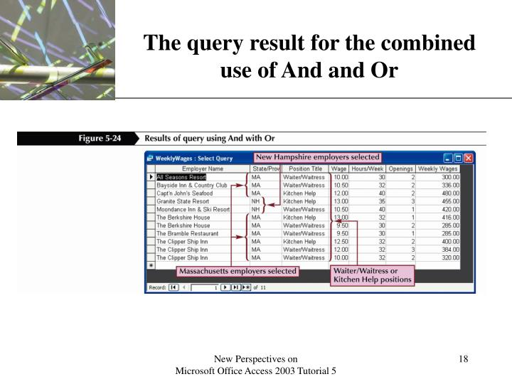 The query result for the combined
