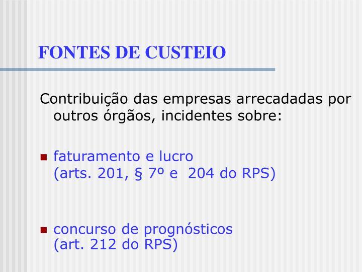 FONTES DE CUSTEIO