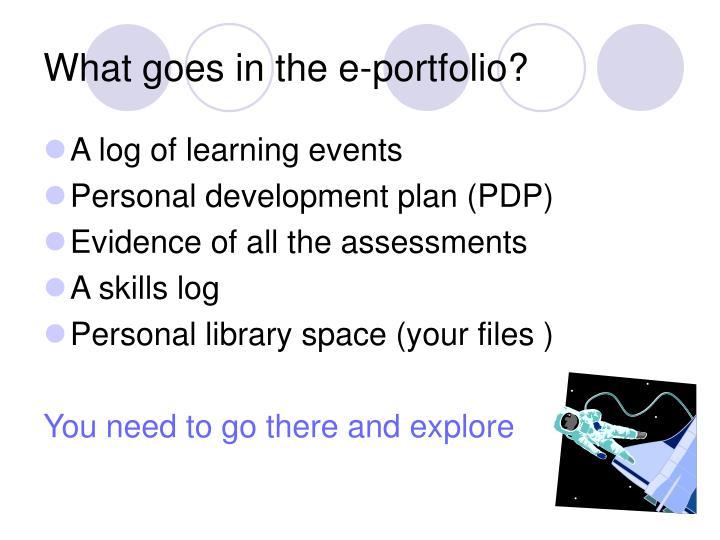 What goes in the e-portfolio?