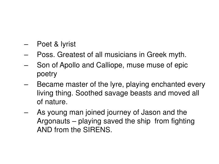 Poet & lyrist