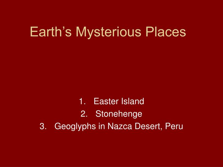 earth s mysterious places n.