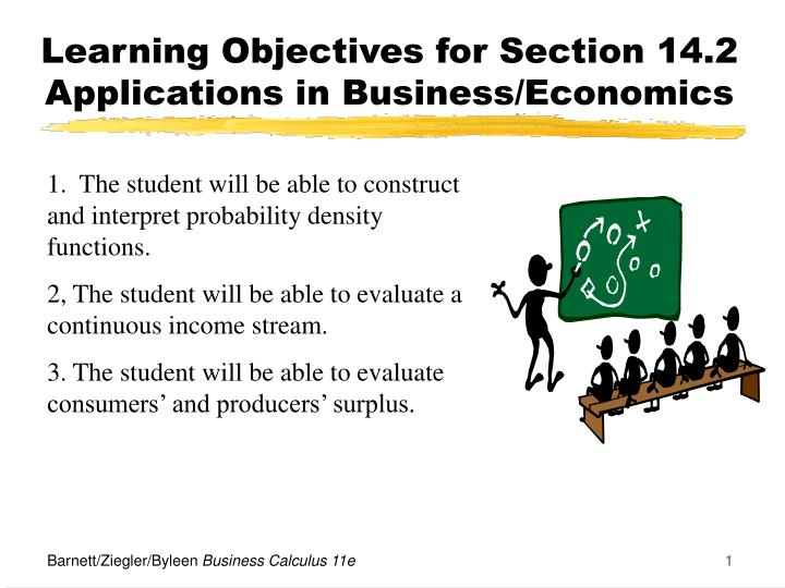 learning objectives for section 14 2 applications in business economics n.