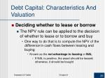 debt capital characteristics and valuation2