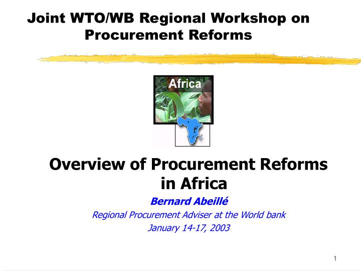 joint wto wb regional workshop on procurement reforms n.