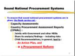 sound national procurement systems