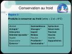 conservation au froid