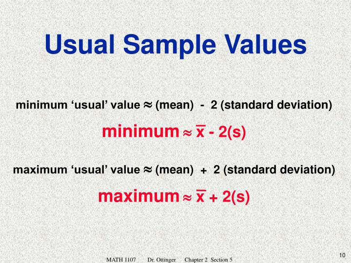 minimum 'usual' value