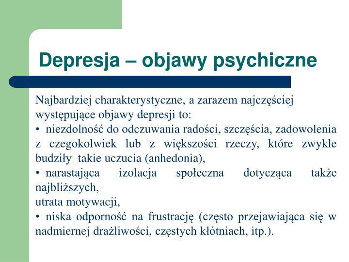 Depresja objawy psychiczne