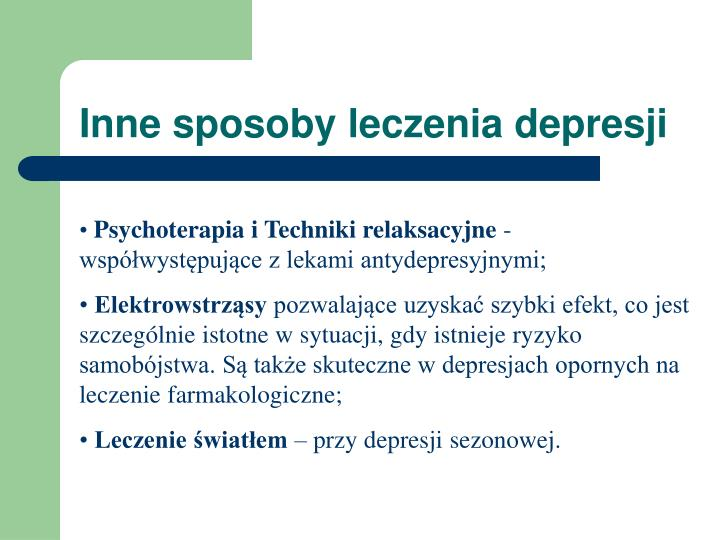 Inne sposoby leczenia depresji